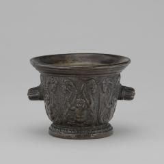 Image for Mortar with Foliate Grotesques, Goats' Heads, and Ribbed Handles