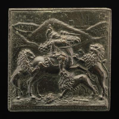 Image for A Horseman Attacked by Three Lions