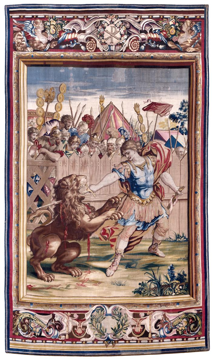 Image for Tapestry showing Constantine Slaying the Lion