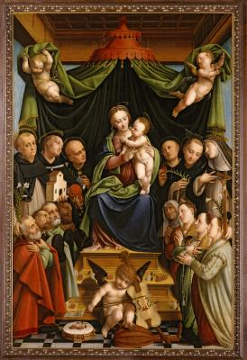 Image for Madonna and Child Enthroned with Saints and Donors