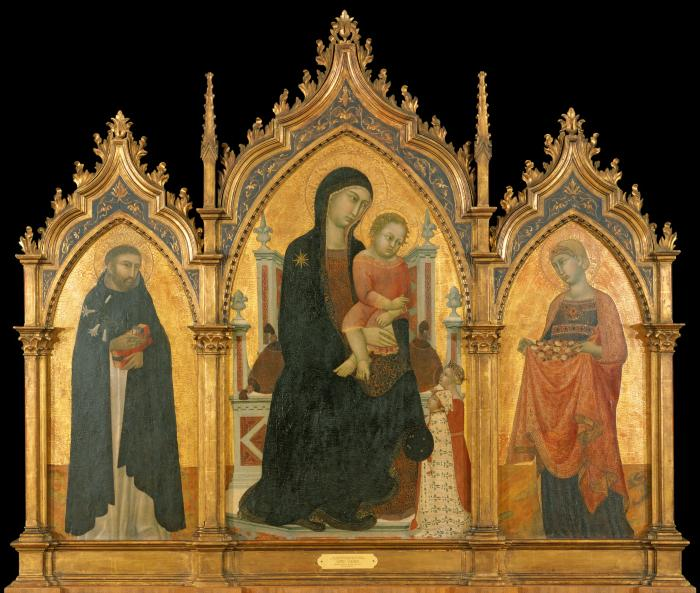 Image for Madonna and Child Enthroned with Donors and Saints Dominic and Elizabeth of Hungary (triptych: center)