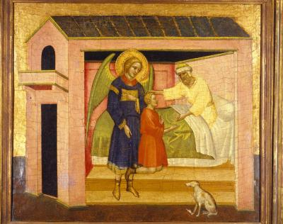 Image for Tobit Blessing His Son, Tobias, Accompanied by Archangel Raphael