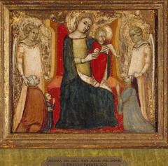Image for Madonna and Child between Two Angels, with a Kneeling Donor, His Wife and Child