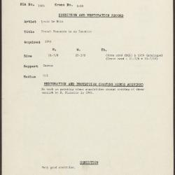 Image for K1418 - Condition and restoration record, circa 1950s-1960s