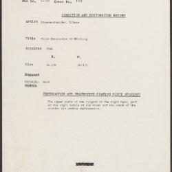 Image for K1378 - Condition and restoration record, circa 1950s-1960s