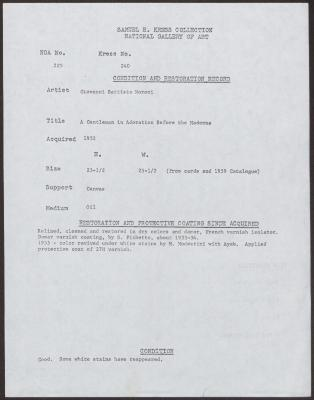 Image for K0240 - Condition and restoration record, circa 1950s-1960s