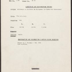 Image for KSF05F - Condition and restoration record, circa 1950s-1960s