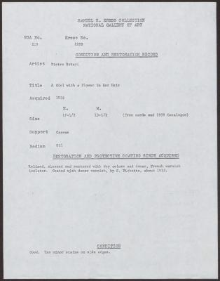 Image for K0228B - Condition and restoration record, circa 1950s-1960s