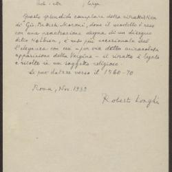 Image for K0240 - Expert opinion by Longhi, 1932