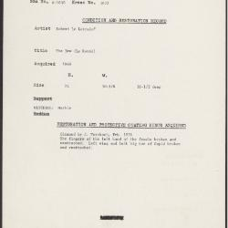Image for K1652 - Condition and restoration record, circa 1950s-1960s