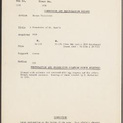 Image for K1658 - Condition and restoration record, circa 1950s-1960s