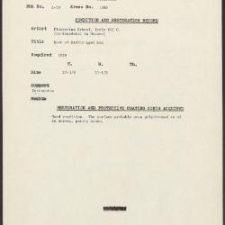 Image for K1308 - Condition and restoration record, circa 1950s-1960s