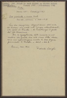 Image for K0228A - Expert opinion by Longhi, 1932