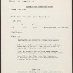 Image for K0448 - Condition and restoration record, circa 1950s-1960s