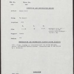 Image for K1880 - Condition and restoration record, circa 1950s-1960s