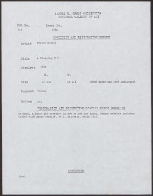 Image for K0228A - Condition and restoration record, circa 1950s-1960s