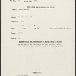 Image for K1337 - Condition and restoration record, circa 1950s-1960s