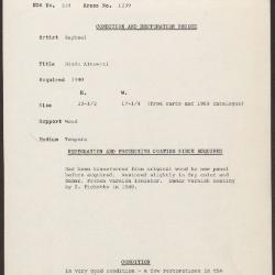 Image for K1239 - Condition and restoration record, circa 1950s-1960s