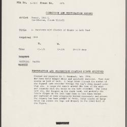 Image for K1671 - Condition and restoration record, circa 1950s-1960s