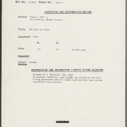 Image for K1645B - Condition and restoration record, circa 1950s-1960s