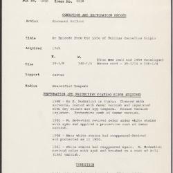 Image for K1628 - Condition and restoration record, circa 1950s-1960s