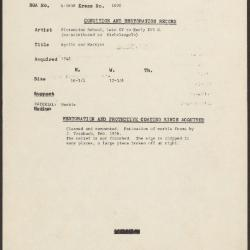 Image for K1600 - Condition and restoration record, circa 1950s-1960s