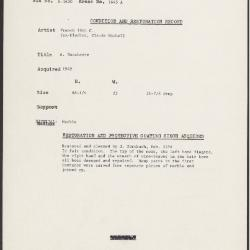 Image for K1645A - Condition and restoration record, circa 1950s-1960s