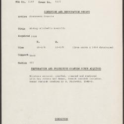 Image for K1531 - Condition and restoration record, circa 1950s-1960s