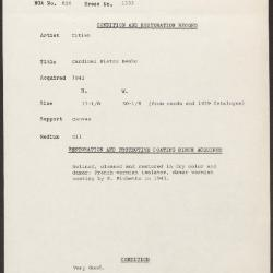 Image for K1333 - Condition and restoration record, circa 1950s-1960s