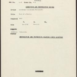 Image for K1307 - Condition and restoration record, circa 1950s-1960s