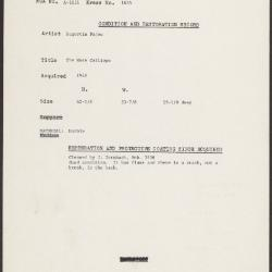Image for K1655 - Condition and restoration record, circa 1950s-1960s
