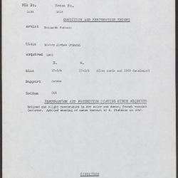 Image for K1416 - Condition and restoration record, circa 1950s-1960s