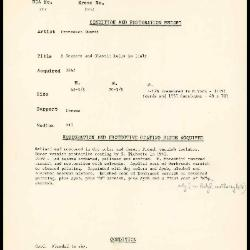 Image for K1332 - Condition and restoration record, circa 1950s-1960s