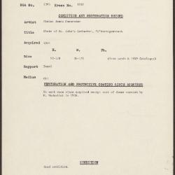 Image for K2052 - Condition and restoration record, circa 1950s-1960s