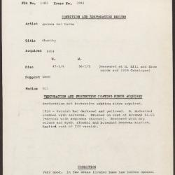 Image for K1992 - Condition and restoration record, circa 1950s-1960s
