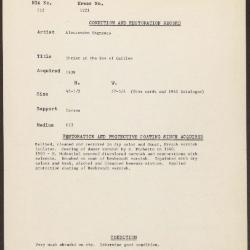Image for K1221 - Condition and restoration record, circa 1950s-1960s