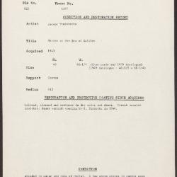 Image for K1345 - Condition and restoration record, circa 1950s-1960s