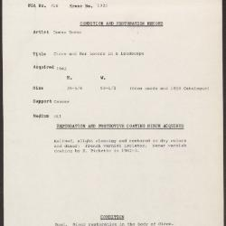 Image for K1323 - Condition and restoration record, circa 1950s-1960s