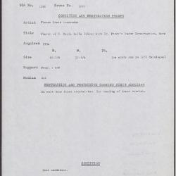 Image for K1999 - Condition and restoration record, circa 1950s-1960s