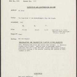 Image for K2127 - Condition and restoration record, circa 1950s-1960s