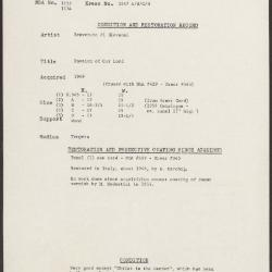 Image for K1647A - Condition and restoration record, circa 1950s-1960s