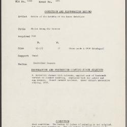 Image for K1681 - Condition and restoration record, circa 1950s-1960s