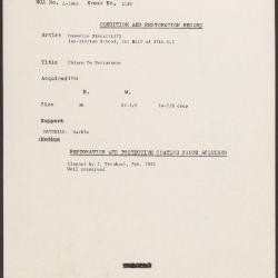 Image for K2130 - Condition and restoration record, circa 1950s-1960s
