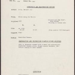 Image for K1669 - Condition and restoration record, circa 1950s-1960s