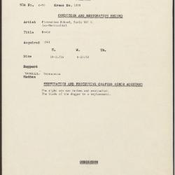 Image for K1250 - Condition and restoration record, circa 1950s-1960s
