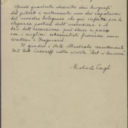Image for K0129 - Expert opinion by Longhi, circa 1920s-1950s