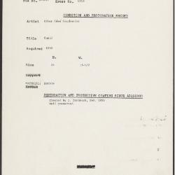 Image for K1713 - Condition and restoration record, circa 1950s-1960s