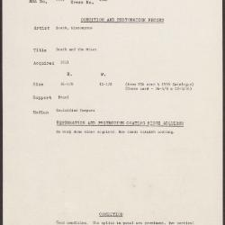 Image for K1848 - Condition and restoration record, circa 1950s-1960s