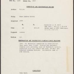 Image for K2040 - Condition and restoration record, circa 1950s-1960s