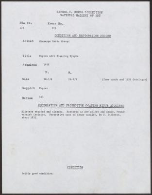 Image for K0129 - Condition and restoration record, circa 1950s-1960s